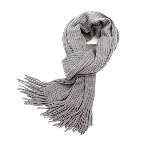 Women Men Winter Scarfs Thick Warmth Cable Knit Chunky Long Shawl (Gray)