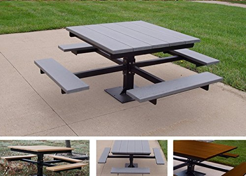 Frog Furnishings T-Table with Black In-Ground Frame, 4', Brown