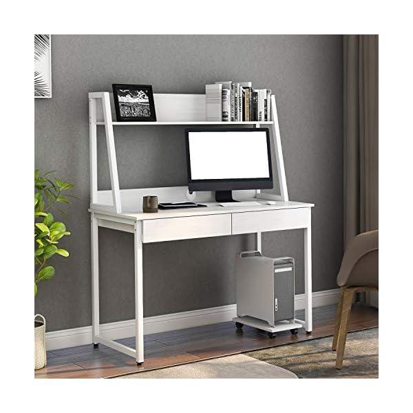 Soayone Bureau en bois MDF et acier – Table de travail de bureau avec étagères, 2 tiroirs, étagères pour livres, photos…