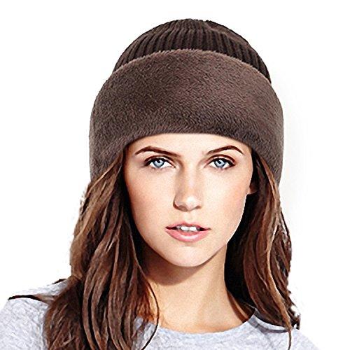 Mens Stock Half Helmet (Firestrive Winter Warm Knitted Wool Fleece Lined Balaclava/Ski Mask (Coffee))
