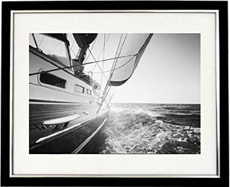 Sailing in south africa framed black white print of an ocean yacht