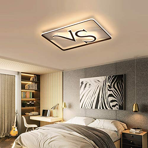 Jiawei Ceiling Light with Remote Control, Creative VS Rectangular Stepless Dimming Ceiling Lamp - PVC Lampshade - Bedroom Living Room Kitchen,105x70x9cm ()