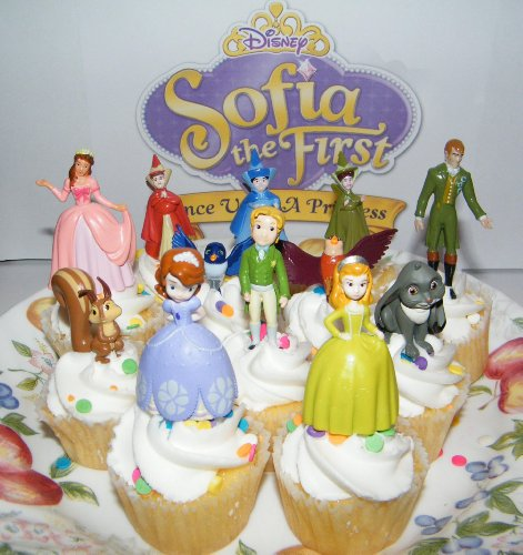 Disney Princess Sophia the First Cake Toppers / Cupcake Party Favor Decorations Set of 12 includes the 3 Fairies, 4 Animal Friends, King and Queen and More!]()
