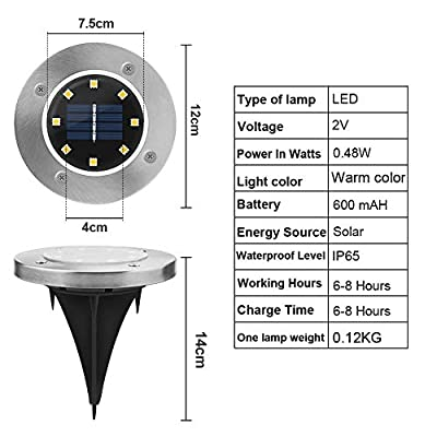 Solar Garden Lights, kdorrku 8 LED Solar Powered Outdoor in-Ground Light Waterproof Disk Buried lamp with Automatic Sensor Stainless Steel for Landscape Lighting Pathway Patio Lawn (4 Pack Warm white)