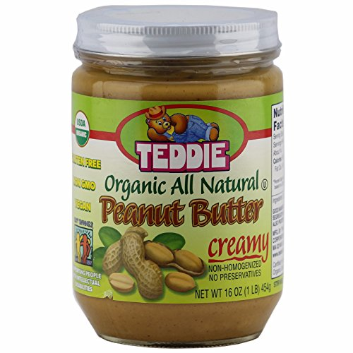 Teddie Organic All Natural Peanut Butter, Creamy 16 Ounce Jar