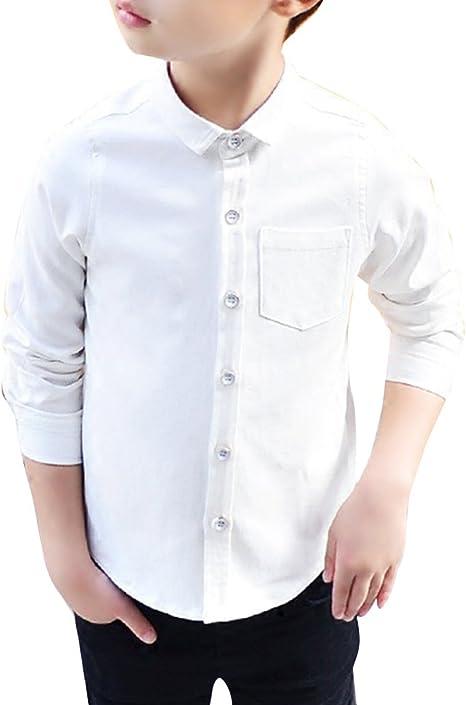 Camisa para Chicos Uniforme Escolar Manga Larga Abotonar Camisa: Amazon.es: Deportes y aire libre