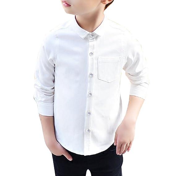 Bienzoe Ni/ño Uniforme escolar Manga larga Oxford Camisa Paquete