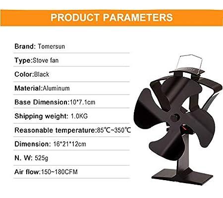 Amazon.com: Tomersun - Ventilador para estufa de 4 aspas con ...