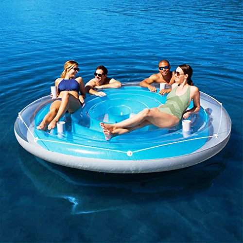 Bestway 4 Person Cooler Z Blue Caribbean Floating Island Inflatable in Water with Cooler & Cup ()