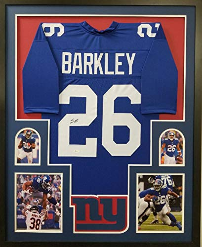 Saquon Barkley New York Giants Signed Autograph FRAMED Custom Jersey JSA Witnessed Certified from Mister Mancave