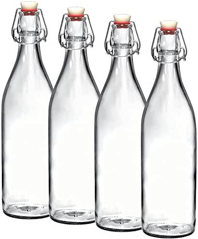 Paksh Novelty Set of 4 Giara Clear Glass Bottle With Stopper, 3.5 X 12-Inch 33 3/4 oz, Swing Top Bottle for Beverages Oil Vinegar