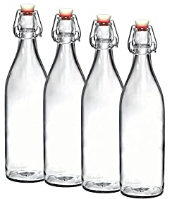 Paksh Novelty Set of 4 Giara Clear Glass Bottle With Stopper, 3.5 X 12-Inch 33 3/4 oz, Swing Top Bottle for Beverages Oil Vinegar