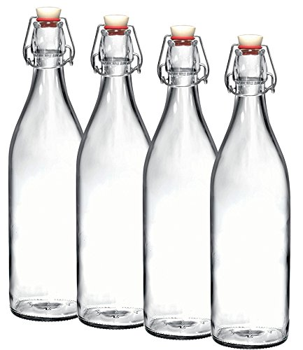Glass Storage Bottles (Bormioli Rocco Giara Clear Glass Bottle With Stopper [Set of 4] Swing Top Bottles Great for Beverages, Oil, Vinegar | 33 3/4 oz)