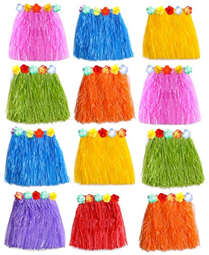 Hula Girl Birthday Party - Grass Skirts for Kids - 12PC Hula Skirt for Kids. Perfect Moana Birthday Party Supplies. Girl's Hawaiian Costume for Moana, Luau Themed Party Decorations (Kids)