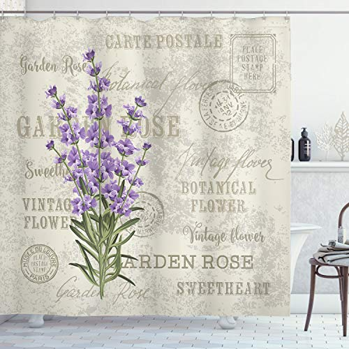 Ambesonne Lavender Shower Curtain by, Vintage Postcard Composition with Grunge Display and Flowers, Fabric Bathroom Decor Set with Hooks, 75 Inches Long, Lavender Reseda Green Beige