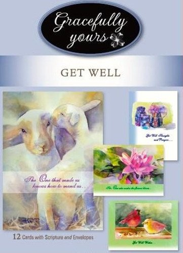 Gracefully Yours 222 Get Well Greeting Cards Featuring Mary Joe Noe, 4 Designs/3 Each with Scripture Message, 6 5/8