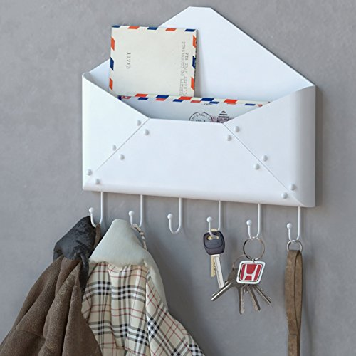 Wall mount mail letter rack holder key hook coat organizer envelope steel white ebay - Wall mounted mail organizer and key rack ...