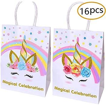 Amazon Com Unicorn Paper Gift Bags For Unicorn Birthday