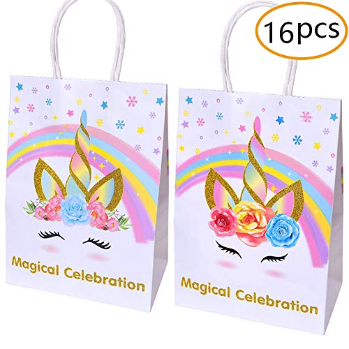 Unicorn Paper Gift Bags For Unicorn Birthday Party Supplies,Unicorn Party Favors Decorations-Set Of 16 by TMCCE