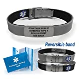 Sport/Slim Reversible Waterproof Medical Alert Bracelet. Incl. 9 lines engraving. BLACK/GRAY