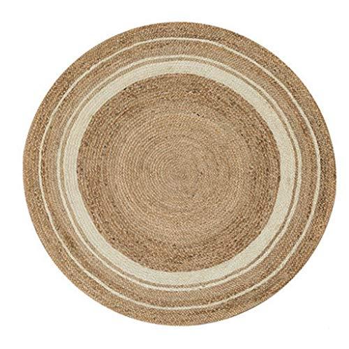 FXNN Alfombra - Alfombra de Yute Antideslizante para Cama Redonda de Yute Moqueta (Tamaño : 150cm)