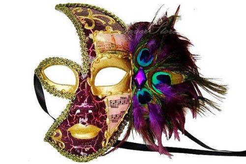 Venetian Style Half Face Feather on Side with Music Note Designed Mask Purple and Gold