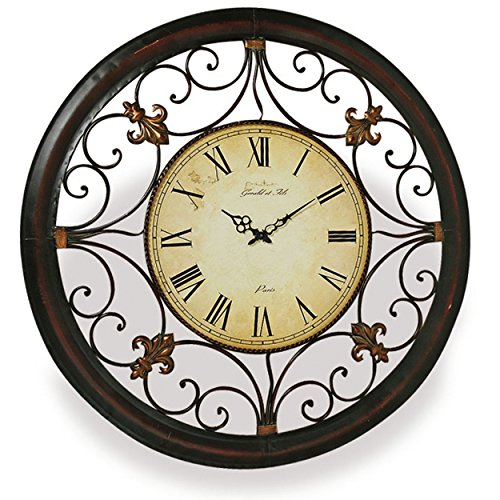 Whole House Worlds The French Fleur de Lise Clock, Round Wall Analog Time Piece, Tonal Bronze Metal Work, 36 ¼ Inch Diameter, 1 AA Battery (not included) By Review