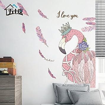 SMNCNL Romantische Flamingo Tapete Selbstklebende Sticker Sofa Im  Wohnzimmer Schlafzimmer Gemütliches Bett Poster Wanddekoration Wandtattoos