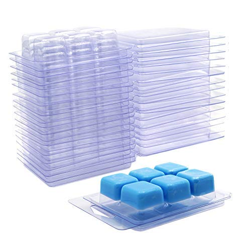 DGQ Wax Melt Molds - 100 Packs Clear Empty Plastic Wax Melt Clamshells for Wickless Wax Melt Candles