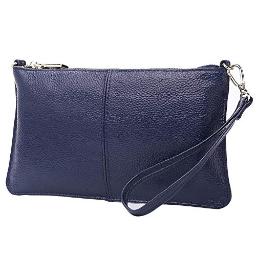 - Lecxci Leather Crossbody Purses Clutch Phone Wallets with Card Slots for Women (Blue)
