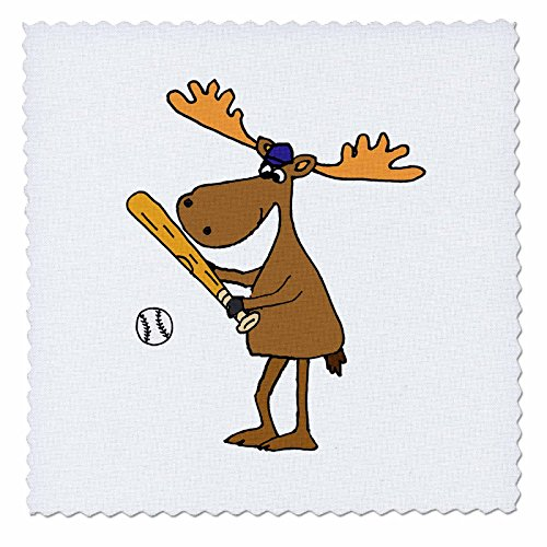 3dRose All Smiles Art Sports and Hobbies - Funny Cool Moose Playing Baseball Or Softball Cartoon - 16x16 inch Quilt Square (qs_281424_6) - 16w Moose