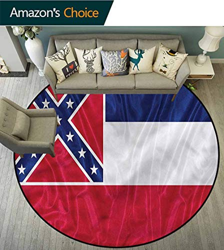 RUGSMAT American Round Kids Rugs,Mississippi Flag Square Kids Teepee Tent Game Play House Round Diameter-47