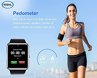 Wearable Bluetooth Smart Watch Wristwatch Phone Fitness Activity Tracker Wristband Sport Watch with Sim Card Slot/Camera//Pedometer/Sleep Tracker/Remote Capture Compatible with Android Phone