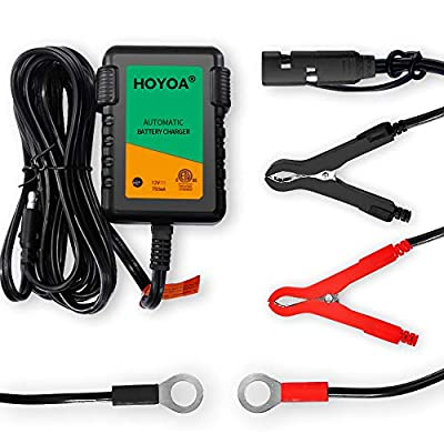 HOYOA 12v 750mA Trickle Battery Charger Maintain Charger Lead Acid Gel/AGM for Car Automotive Motorcycles and Lawn Mower: Automotive