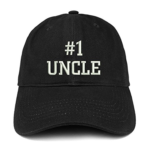 Trendy Apparel Shop Number 1 Uncle Embroidered Low Profile Soft Cotton Baseball Cap - Black