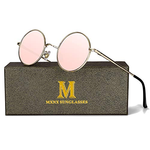Retro Round Sunglasses for men John Lennon women Vintage Polarized Hipple Small Circle Sun Glasses MXNX209 -(Gold/Mirror Pink ()