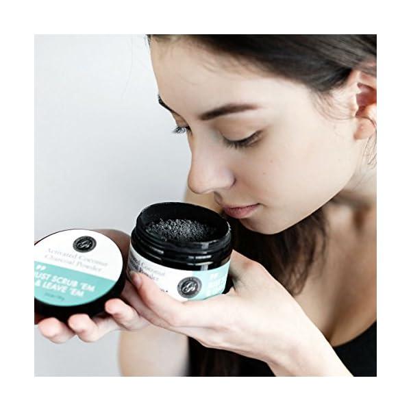 Polvo blanqueador de dientes de carbón activado (Gran 70 g, sabor a menta) 100% puro, natural y vegano | Blanqueamiento… 7