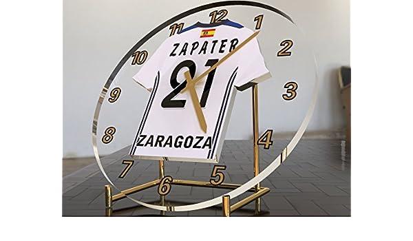 Reloj de sobremesa, diseño de camiseta de fútbol de La Liga española, hombre, Real Zaragoza: Amazon.es: Deportes y aire libre