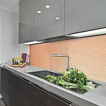 GroBartig KeraBad Küchenrückwand Küchenspiegel Wandverkleidung Fliesenverkleidung  Fliesenspiegel Aus Aluverbund Küche Kupfer Gebürstet 60x260cm