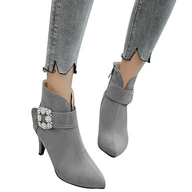 Geili Damen Wildleder Stiefeletten Kurzschaft Spitze Stiefel mit Pfennigabsatz Frauen Übergrößen Strass Schnalle Ankle Boots Warme Plüsch Gefüttert