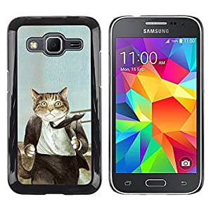 Stuss Case / Funda Carcasa protectora - Cat Suit Businessman Art Drawing Painting - Samsung Galaxy Core Prime SM-G360