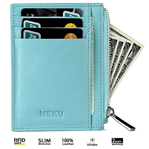 MEKU RFID Blocking Leather Card Holder Men Slim Card Cover Thin Card Case with 8 Card Slots + Zipper Pocket For Cash Blue (Card Purse Holder Change)