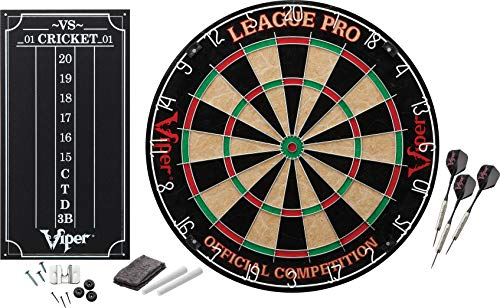 (Viper League Pro Regulation Bristle Steel Tip Dartboard Starter Set with Staple-Free Bullseye, Radial Spider Wire, High-Grade Sisal with Rotating Number Ring, Chalk Cricket Scoreboard, Steel Tip Darts)