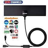 AKARY TV Antenna, Digital Antenna for HDTV with Amplifier Signal Booster 50 Miles Range Reception Indoor Antenna Freeview Local Channels [2018 NEWEST VERSION]