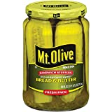 Mt. Olive Old Fashioned Sweet Bread And Butter Jumbo Sandwich Stuffers Pickle Slices, 24 Fl Oz Jars (Pack of 2, Total of 48 Oz)