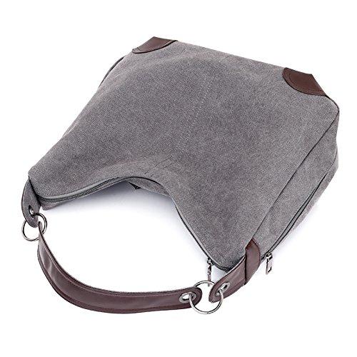 tamaño Girl Mujer Bandolera gris de para diseño portátil la Retro Grande para de Estudiantes Birster con marrón Bolso Lona Marca RgxqC