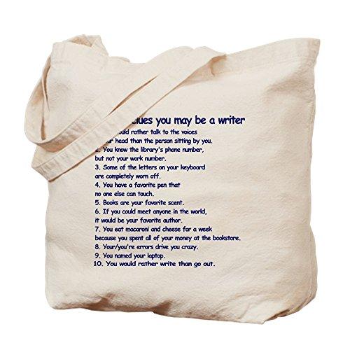 CafePress Writer Clues Writing Natural Canvas Tote Bag, Cloth Shopping Bag
