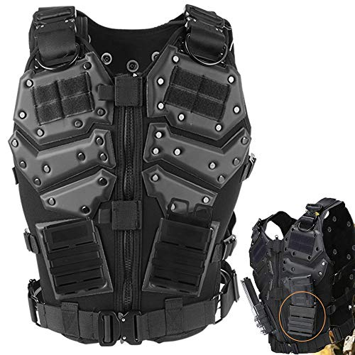Body Enforcement Armor Law (ActionUnion Airsoft Molle Tactical Vests Military Costume with Pouches Plates Chest Protector Paintball Vest CS Field Outdoor Combat Training Special Forces Adjustable (Vest+2pcs 5.56 Fast mag Pouch))