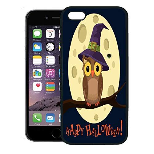Semtomn Phone Case for iPhone 8 Plus case,Purple Cute Cartoon Owl in Hat on Moon Little Spider Halloween Bird Magic iPhone 7 Plus case -