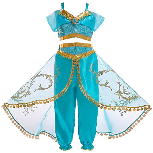 Tangjie Kids Girls Princess Jasmine Costume Princess Cosplay Dress up Party Role Play Outfit for Girls 3-12Y (C # Jasmine, 120)